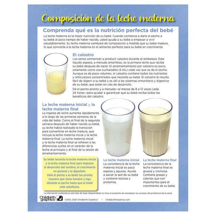 Breastmilk Composition Tear Pad, Childbirth Graphics breastfeeding education leaflet about breastmilk, Spanish side, 52501