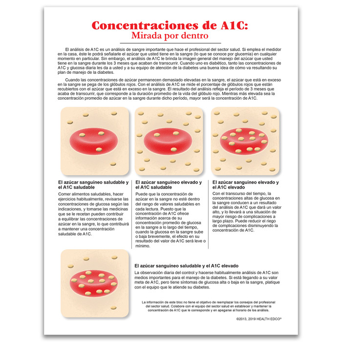 A1C Levels inside look illustrated tear pad Spanish side, depicts blood test results from 3 readings, Health Edco, 52503