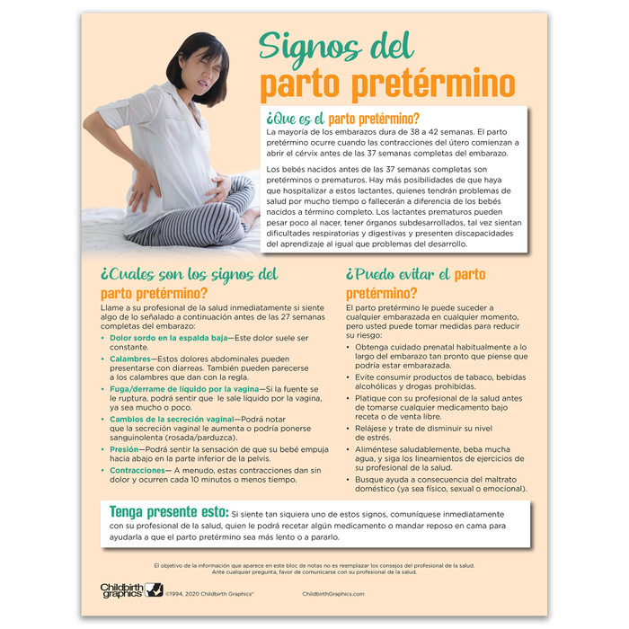 Signs of Preterm Labor Tear Pad by Childbirth Graphics, Spanish side of handout explaining preterm labor warning signs, 52515