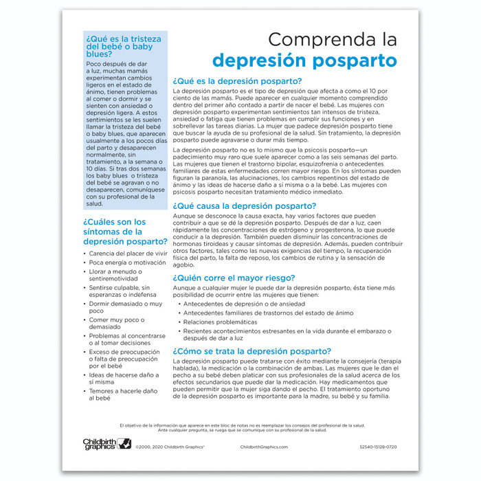 Understanding Postpartum Depression Tear Pad by Childbirth Graphics, Spanish side of educational handout for new mums, 52540