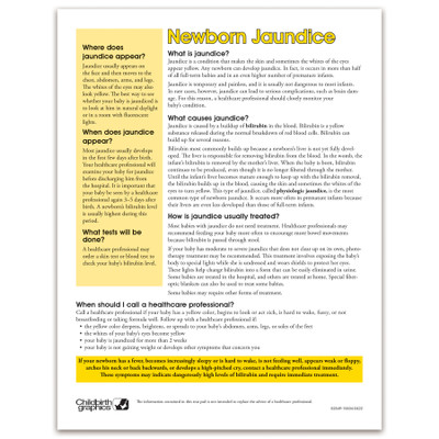 Newborn Jaundice 2-color tear pad, what jaundice is and how it is treated questions & answers, Childbirth Graphics, 52549