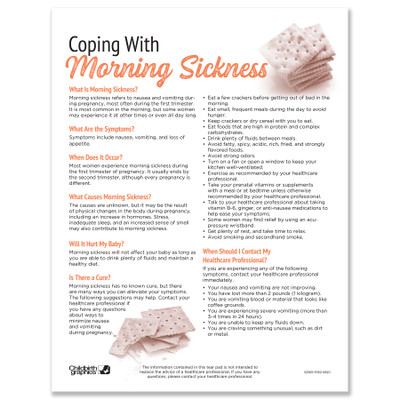 Coping With Morning Sickness Tear Pad childbirth education leaflet by Childbirth Graphics, patient information English, 52565