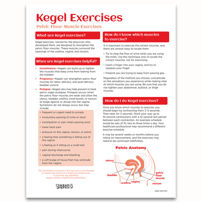 Kegel Exercises Tear Pad for childbirth education from Childbirth Graphics with English and Spanish text, English side, 52566