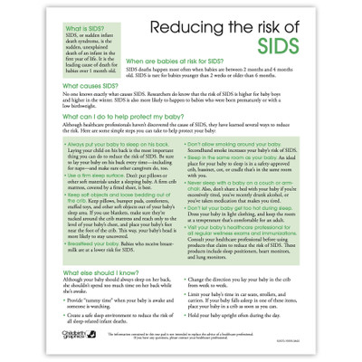 Reducing the Risk of SIDS 2-color tear pad English side, what SIDS is causes protection, Childbirth Graphics 52570