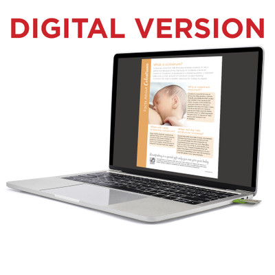 Facts About Colostrum Virtual Educational Resource, Childbirth Graphics breastfeeding teaching tool shown on laptop, 52598V
