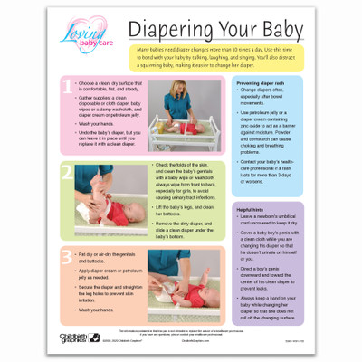 Diapering Your Baby full color tear pad, steps and helpful hints for diapering, Childbirth Graphics, 52606