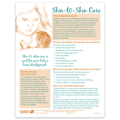 Skin to Skin Care illustrated 2-color tear pad English side, benefits for baby and parents, Childbirth Graphics 52608