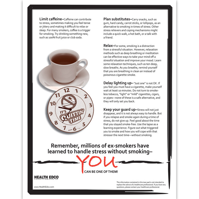 Coping with Stress without cigarettes 2-color 2-sided tear pad back, tips for reducing stress, Health Edco, 52609