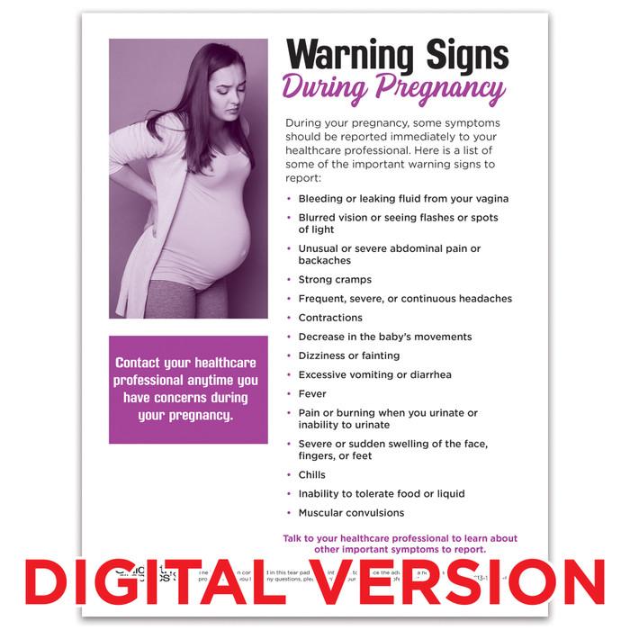 Warning Signs During Pregnancy Tear Pad, Virtual, Childbirth Graphics digital pregnancy education teaching resource, 52613V