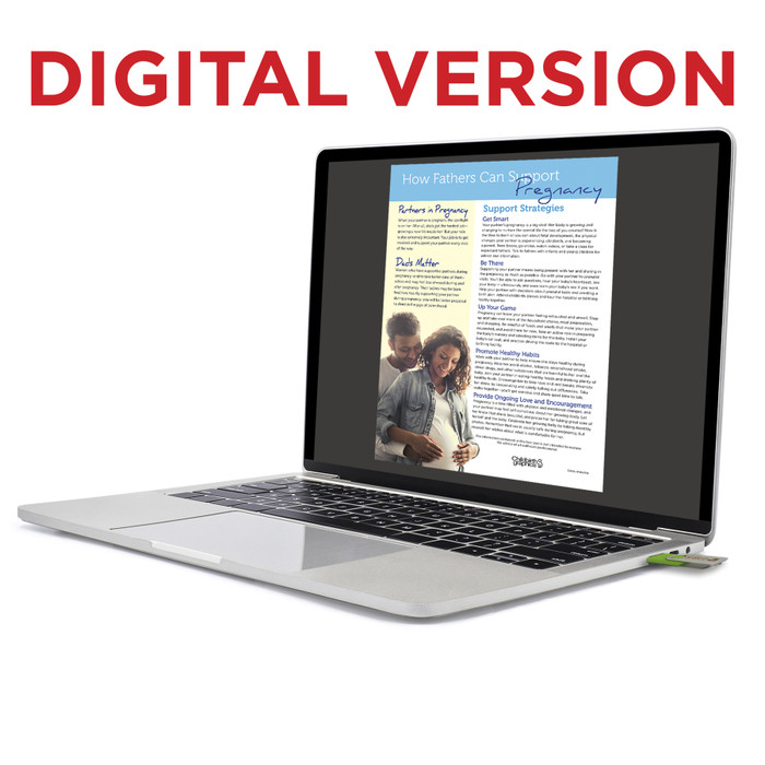 How Fathers Can Support Pregnancy Virtual Educational Resource, Childbirth Graphics teaching tool shown on laptop, 52618V