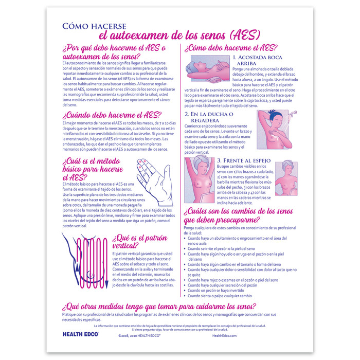 How to perform Breast Self-Examination BSE 2-color illustrated tear pad Spanish back, Health Edco 52623