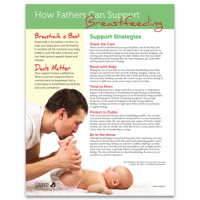 How Fathers Can Support Breastfeeding Tear Pad, English side, lactation education materials, Childbirth Graphics, 52652