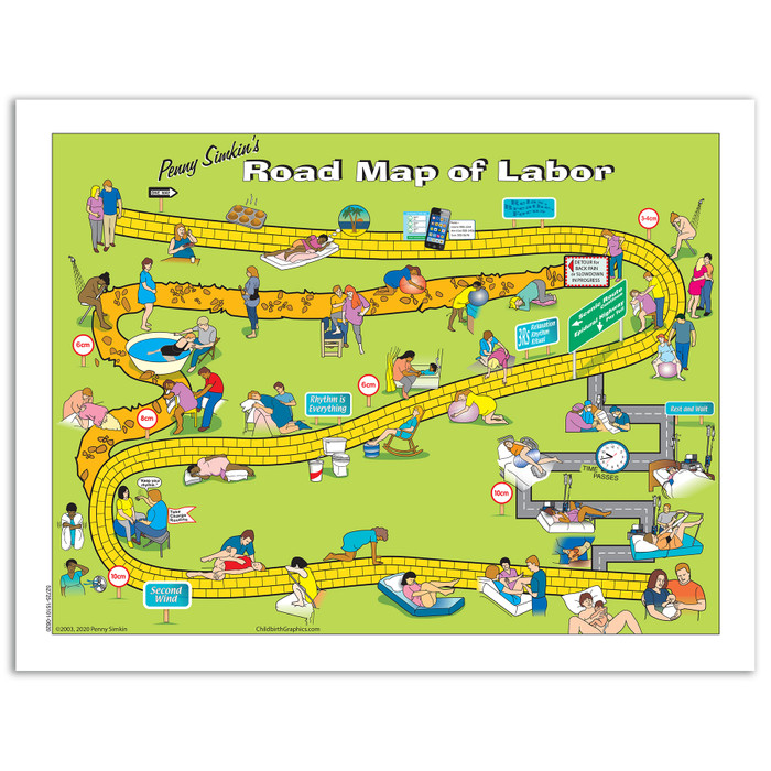 Penny Simkin's Road Map of Labor from Childbirth Graphics, leaflet for expectant parents for labor comfort measures, 52725