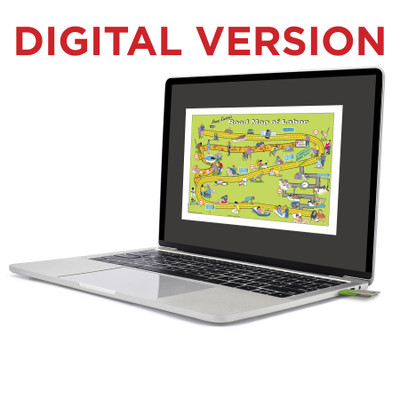 Penny Simkin's Road Map of Labor Tear Virtual Educational Resource, Childbirth Graphics teaching tool shown on laptop, 52725V