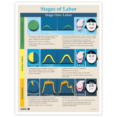 Stages of Labor full-color illustrated Tear Pad front, stage 1 of Labor time & contraction duration, Childbirth Graphics 52736