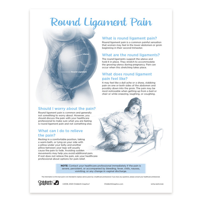 Round Liogament 2-color illustrated tear pad front, what round ligament pain is how to relieve it, Childbirth Graphics 52754