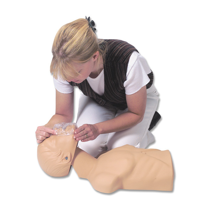Economy Adult Sani-Manikin for CPR training, user putting face shiled over manikin mouth for CPR practice, Health Edco, 56046