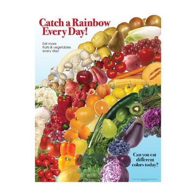 Catch a Rainbow Poster, rainbow of colors for fruit & vegetables laminated chart, Health Edco, 70105