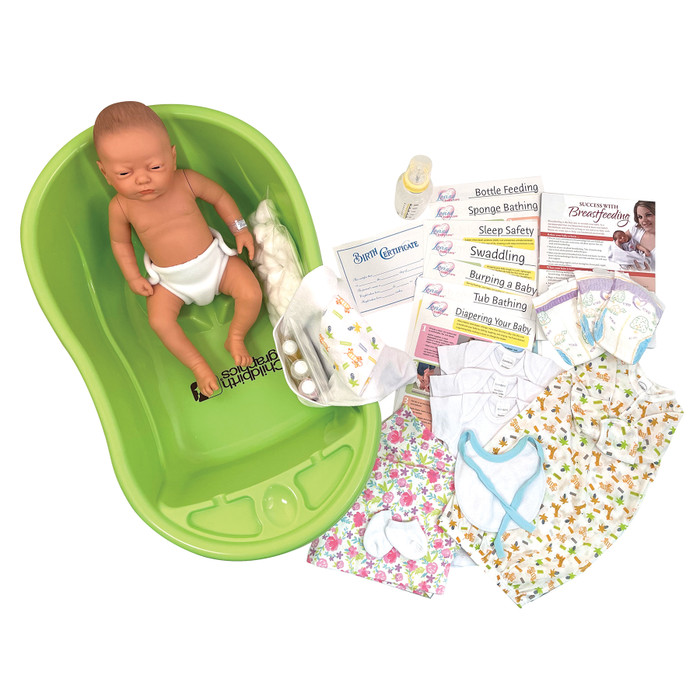 Newborn Care Kit for childbirth education and infant care teaching tool, Childbirth Graphics with doll and care items, 75415