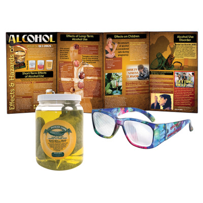 Alcohol Education Kit for health education from Health Edco with educational display, drunk glasses, and liver model, 75901