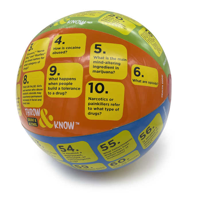 Drugs and Alcohol Throw & Know Activity ball, health education teaching activity with question ball, Health Edco 78036