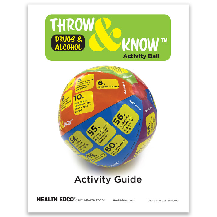 Drugs and Alcohol Throw & Know Activity, activity guide with 60 questions for health education ball, Health Edco, 78036