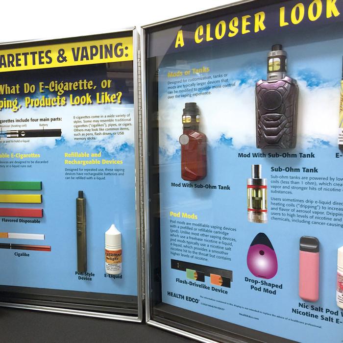 E-Cigarettes & Vaping: A Closer Look by Health Edco for health education side view of vaping device models, 78499