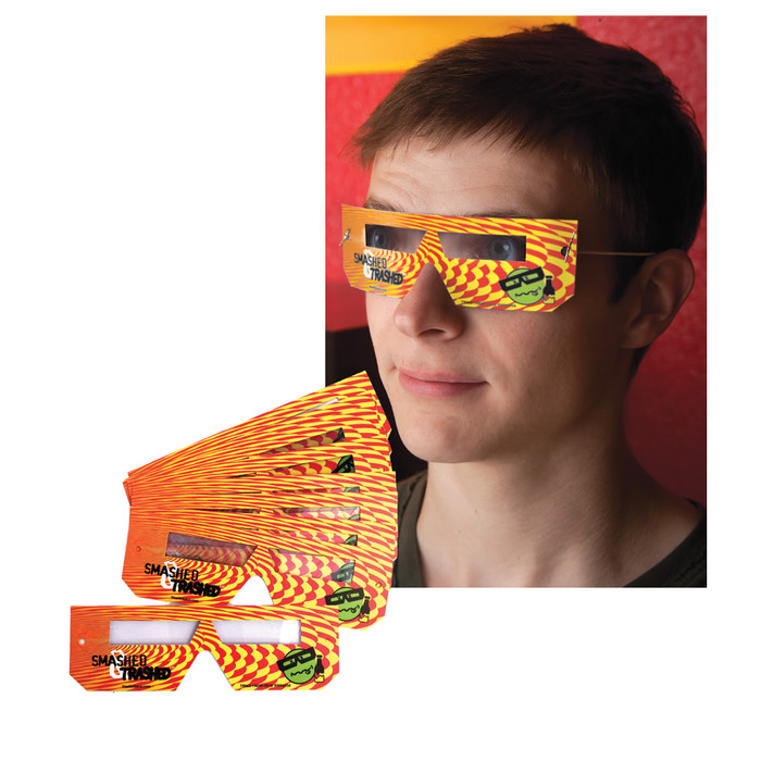 Student wearing Smashed & Trashed Disposable Glasses, alcohol intoxication education materials, 78963