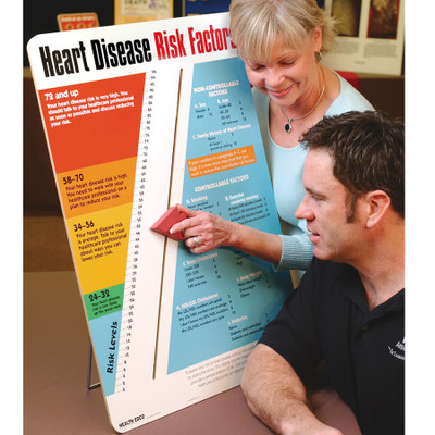 Heart Disease Risk Factors interactive display for health education from Health Edco that helps calculate disease risk, 79027