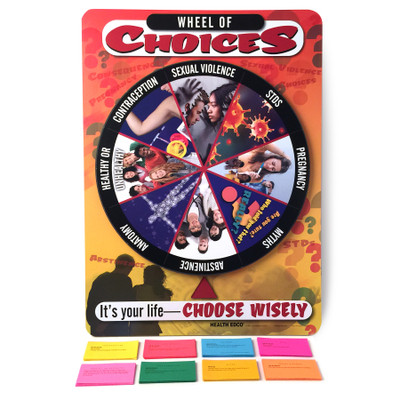 Wheel of Choices Game for sex and relationship education from Health Edco with spinning game wheel and question cards, 79122