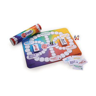 FitFood Can Game, full color tube game mat cards game pieces die nutrition & physical activities, Health Edco, 79144