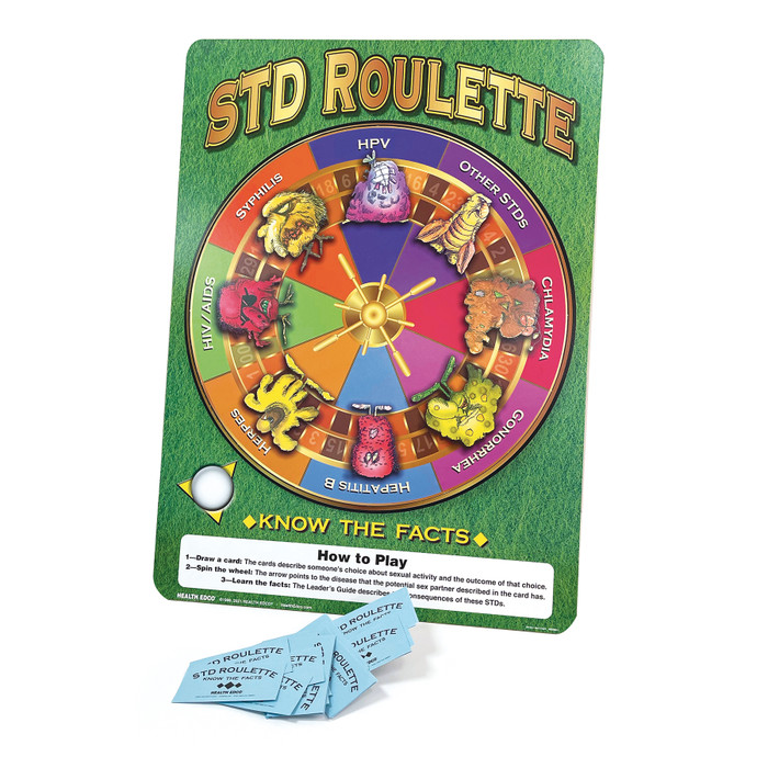 STD Roulette Game, Health Edco health education activity with game cards and activity wheel, sex education materials, 79195