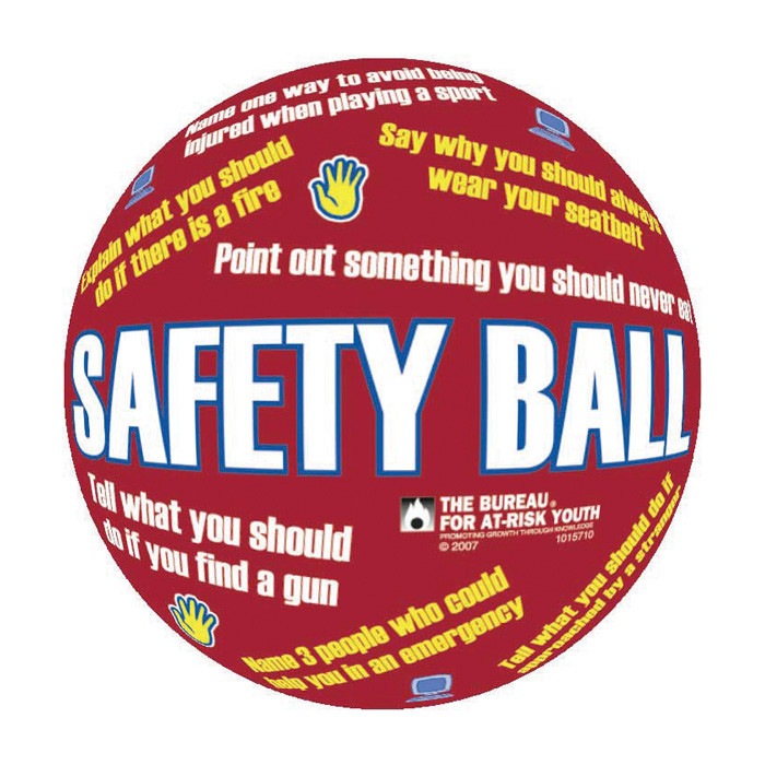 """Safety First Ball, 8"""" diameter inflatable red ball statements & safety questions printed, Health Edco, 79324"""