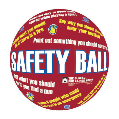 "Safety First Ball, 8"" diameter inflatable red ball statements & safety questions printed, Health Edco, 79324"