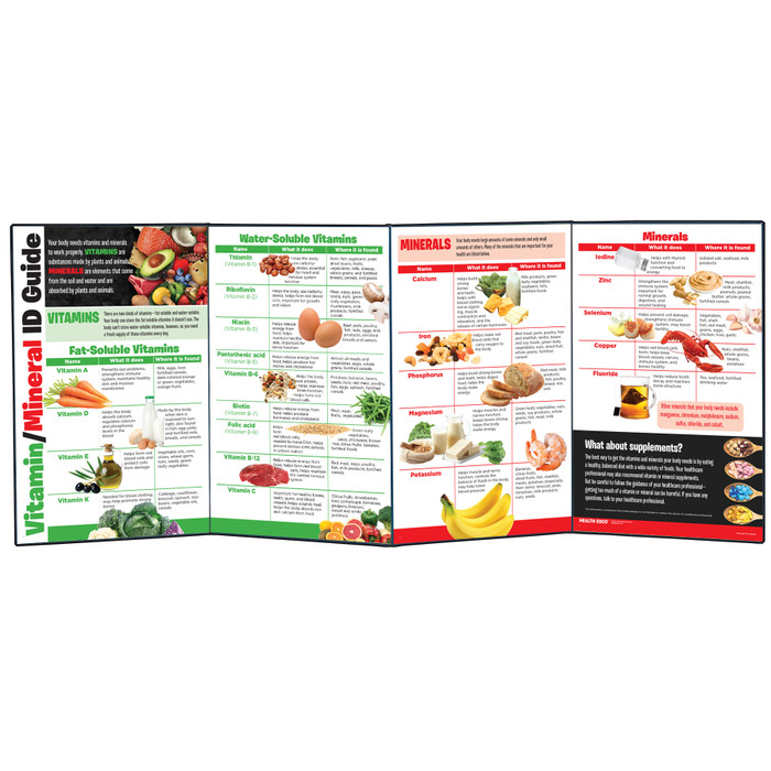 Vitamin / Mineral ID Guide folding display for health education from Health Edco with nutrition information about food, 79363