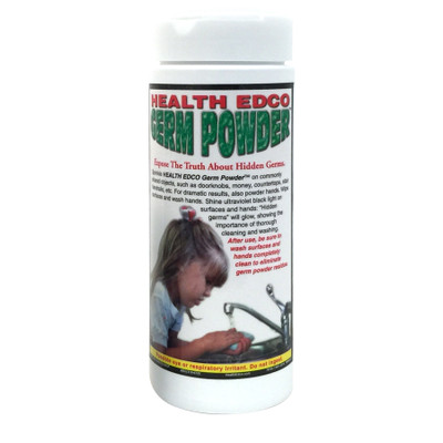 Health Edco Germ Powder that glows under a UV lamp to teach the importance of hand washing for health education, 79705