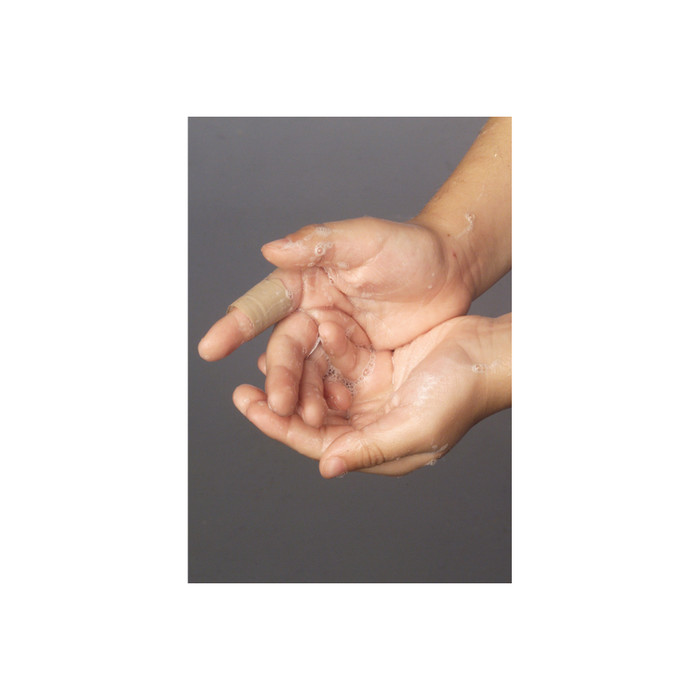Child washing hands washing Health Edco Germ Powder that glows under a UV Lamp to teach proper hand washing technique, 79760