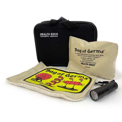 Bag of Germs Set with glowing powder to teach hand washing technique with UV Lamp and powder bag by Health Edco, 79785