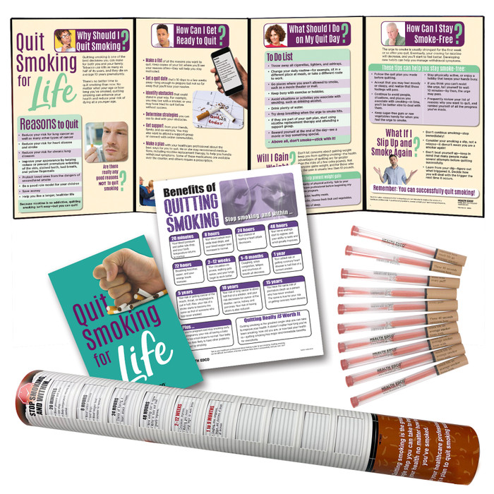 Smoking Cessation Package from Health Edco with health education materials to help smokers quit tobacco and smoking, 79951