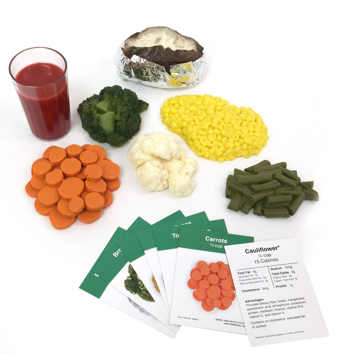 Vegetable Faux Food Kit, 7 fake foods with nutrition food cards vegetable portions, Health Edco, 79976