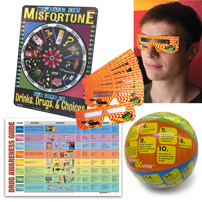 Drug and Alcohol Classroom Education Package from Health Edco with drug education game and chart with alcohol glasses, 85483