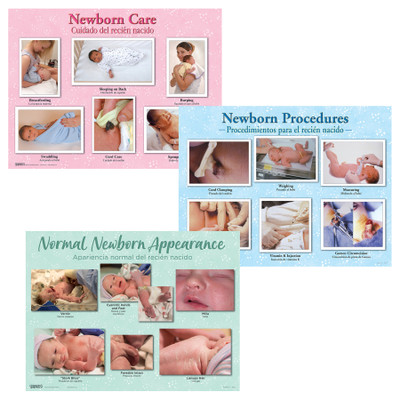Newborn Chart Set of three charts for childbirth education from Childbirth Graphics showing healthy newborn appearance, 90160