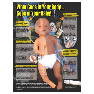 What Goes in Your Body Goes in Your Chart from Childbirth Graphics covering how substance abuse can harm a fetus, 90803