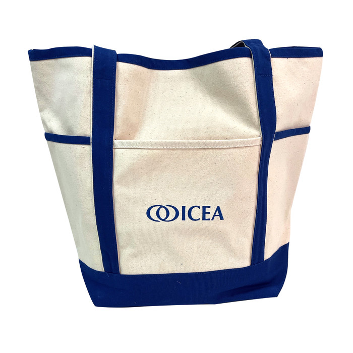 ICEA Childbirth Educator Tote Bag from Childbirth Graphics, durable blue canvas tote bag with ICEA logo and zippered closure