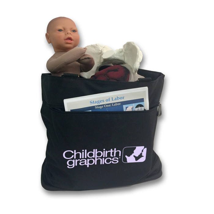 Childbirth Graphics Tote Bag with childbirth education model sets and other childbirth educator teaching tools, 92866